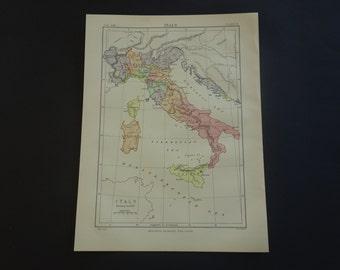 ITALY antique map of Italian history - 1880 original old English print about pre 1797 Italy - vintage history maps - vecchia mappa di Italia