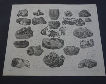 Antique minerals print - lovely original 160+ years old poster - vintage b/w pictures of mineral rocks stones crystals mineralien - 9x12""
