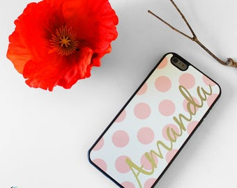 Pink Polka Dots Monogrammed Case Cover for Apple iPod Touch & iPhone 4/4s/5/5s/5c/6/6s/7/Plus/SE