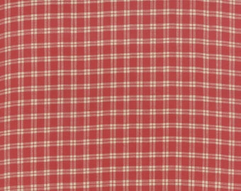 Moda Petite Woven Red Tan Plaid French General Fabric 12557-11 BTY
