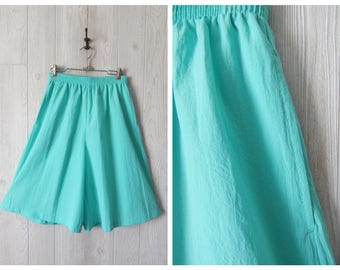 Women's Vintage 80s 90s Neon Teal Green High Waist Board Shorts with Elastic Waist by Bonworth // Size S M