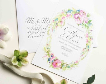 Enchantment personalised wedding invitation - bright floral summer wreath and calligraphy