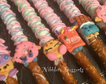 12 SHOPKINS chocolate dipped and decorated Pretzel Rods