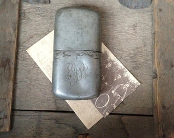 antique hip flask / vintage flask / pewter hip flask / pewter flask / engraved flask