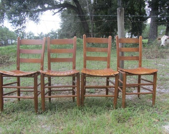 Vintage Set of Chair, Ladder Back Chair, Furniture, primitive, Wood Chair, Dinning Chair, farmhouse chair, Set Of 4 Chairs, Wood Slat Chair