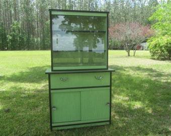 Mid Century China Cabinet, kitchen  cabinet, Mid Century Green cabinet, kitchen  furniture, hutch, china hutch, bakers cabinet, mint green