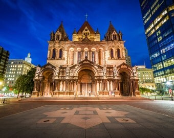 Trinity Church at night, at Copley Square, in Back Bay, Boston, Massachusetts. | Photo Print, Stretched Canvas, or Metal Print.