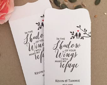 10 Wedding Favour White Bird Seed Packet Envelopes Personalised