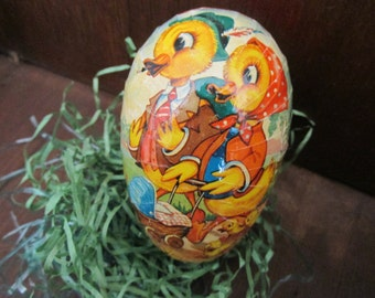 Vintage Easter Egg, paper mache, made in Western Germany, candy box, chicks, ducks, Spring