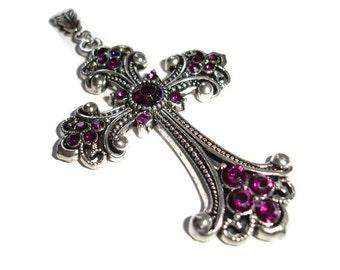Cross Pendant Silver Cross Pendant Purple Crystal cross Pendant for Faithful Rhinestone cross Purple Cross Necklace gift for her