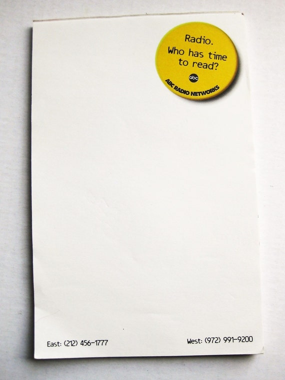 """ABC Radio memo pad. """"Radio. Who has time to read?""""  Stationery.  Corporate stationery. Media. Communications. Letterhead. Vintage office."""