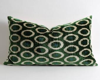 Green white polka dot ikat velvet pillow cover // luxury decorative lumbar throw pillows