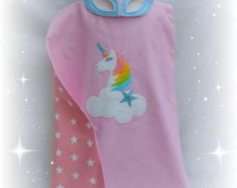 Rainbow unicorn superhero cape and mask set