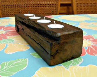 Wood Candle Holder, for Tea-Light Candles, Rustic Candle Holder, Up-cycled Pallet Wood, Candle Centerpiece, 4 Candles, Distressed Design