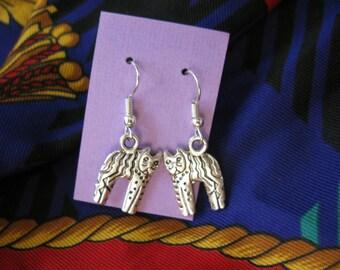 Cat Charm  Earrings  Tibetan Silver Dangle Pierced