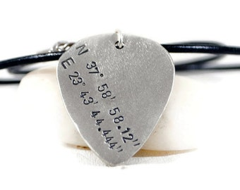 Custom Coordinates Sterling Silver Leather Necklace. Personalized Silver Guitar Pick Pendant. Mens Latitude Longitude Hand Stamped Necklace.