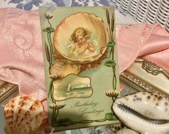 Pretty, Antique, Seaside Themed Greeting Card