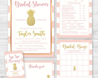 Gold Pineapple Bridal Shower Complete Invitation Set Package - Invite, Games, Wine tag, Thank You