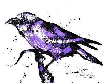 Crow, Original acrylicr painting,,Crow lover art, Crow wall art, raven