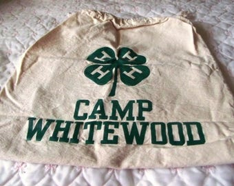 VINTAGE  NEW 1950 Camp Whitewood 4H Heavy Duffle Bag Never Used Perfect Condition