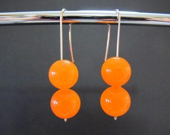 Orange Carnelian Gold Earrings