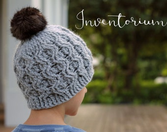 "Crochet Patterns Cable Beanie ""Aston Cable Beanie"" Hats Pattern, Crochet Cables PDF"