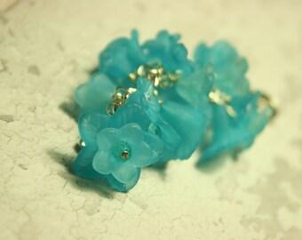 Turquoise floral bag charm, handmade bag charm, turquoise flowers, bag decoration