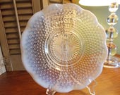 OPALESCENT HOBNAIL PLATE, Moonstone Crystal Sandwich Platter, Anchor Hocking Glass Company