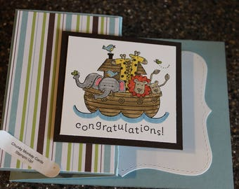 Stampin Up Homemade Greeting Card Two by Two Baby Boy Congratulations