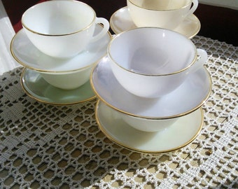6 harlequin rainbow pastel milk glass tea cups and saucers set 1950s pearlescent