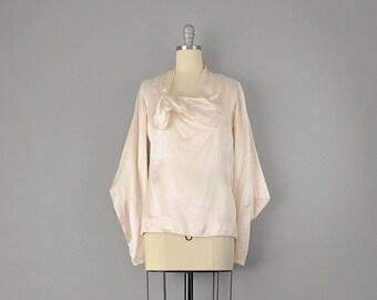20s Blouse // 1920s Ivory Silk Satin Avant-Garde Blouse // S-M