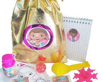 Doc McStuffins party bag loot bag with 9 items inside
