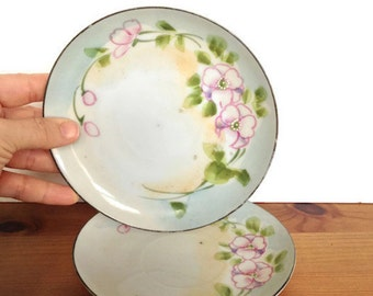 Antique Nippon plates set of 2 hand painted dishes pink flowers TeOh