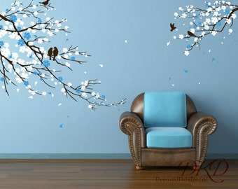 Cherry Tree Wall Decal Nursery wall decals trees wall sticker kids baby bedroom children wall decor,brown white pink flowers butterfly-DK006