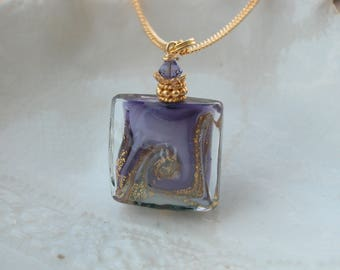 Purple & Gray Murano Glass Necklace