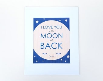 8x10 cute i love you to the moon and back art print matted in 11x14 white frame