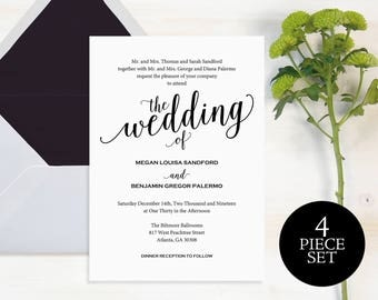 Wedding Invitation, Wedding Invitation Template, Wedding Invite Printable, Wedding Template, Invitation, Script, Instant Download, #MM01
