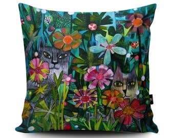 Floral Decorative Cushion by Este MacLeod, Twin cats Flowers Cushion, Floral Pillow, Designer Fabric Cushion Covers.