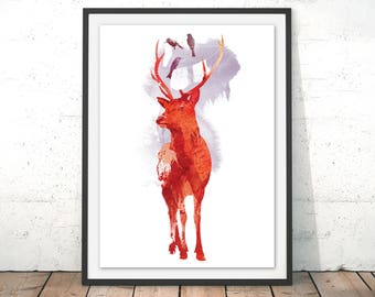Deer Art Print Stag Wall Art Deer Watercolour Painting Deer Illustration Washing Line Outdoors Deer Print by Robert Farkas