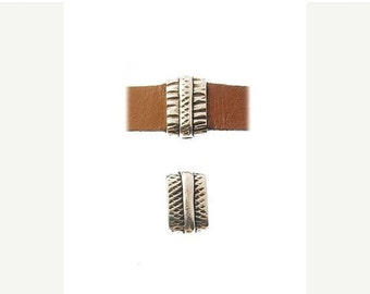 On Sale NOW 25%OFF Carved Sliders For 5-10mm Flat Leather Cord - Antique Silver - Z3500 Qty 2