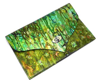 Handmade Forest Green Leather Clutch Bag, Purse, Shoulder Bag. Unique