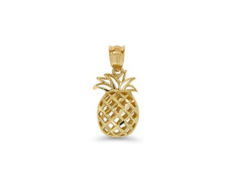14k solid gold 3D pineapple pendant. Tropical jewelry.
