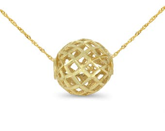 """14k solid gold sphere pendant on 18"""" solid gold chain."""