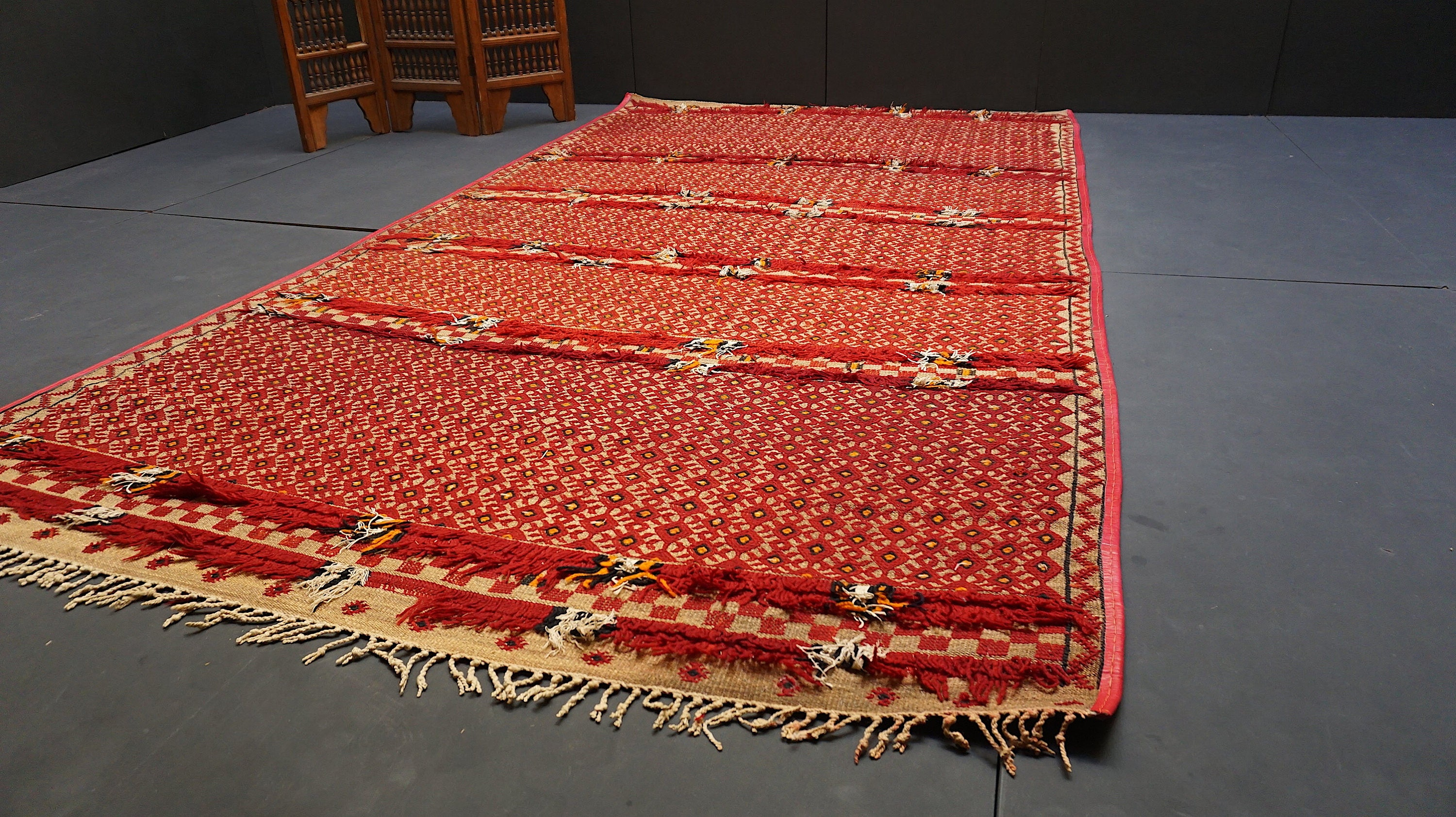 leather or nomad straw rug fullxfull mat berber antique mats tuareg with trim moroccan il p hassira hasira