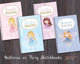 Personalized Ballerina or Fairy Sketch Books