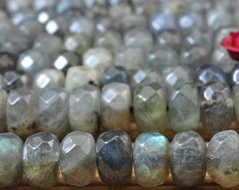 72 pcs of Natural Labradorite faceted rondelle beads in 5x8mm (03212#)
