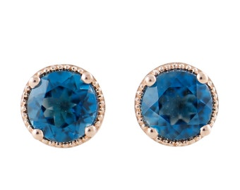 14K Rose Gold Over Ster Silver 2.4ctw London Blue Topaz Circular Stud Earrings