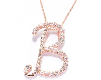"18K Rose Gold over Silver 1.82ctw Morganite 'B' Shaped Pendant 1.3""L & 18"" Chain"