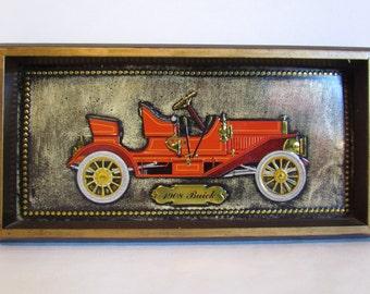 Vintage Metal Car Wall Plaque Vintage Car Wall Art 1908 Buick Car Decor Man Cave Ideas
