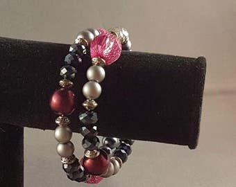 Gray and burgundy memory wire bracelet
